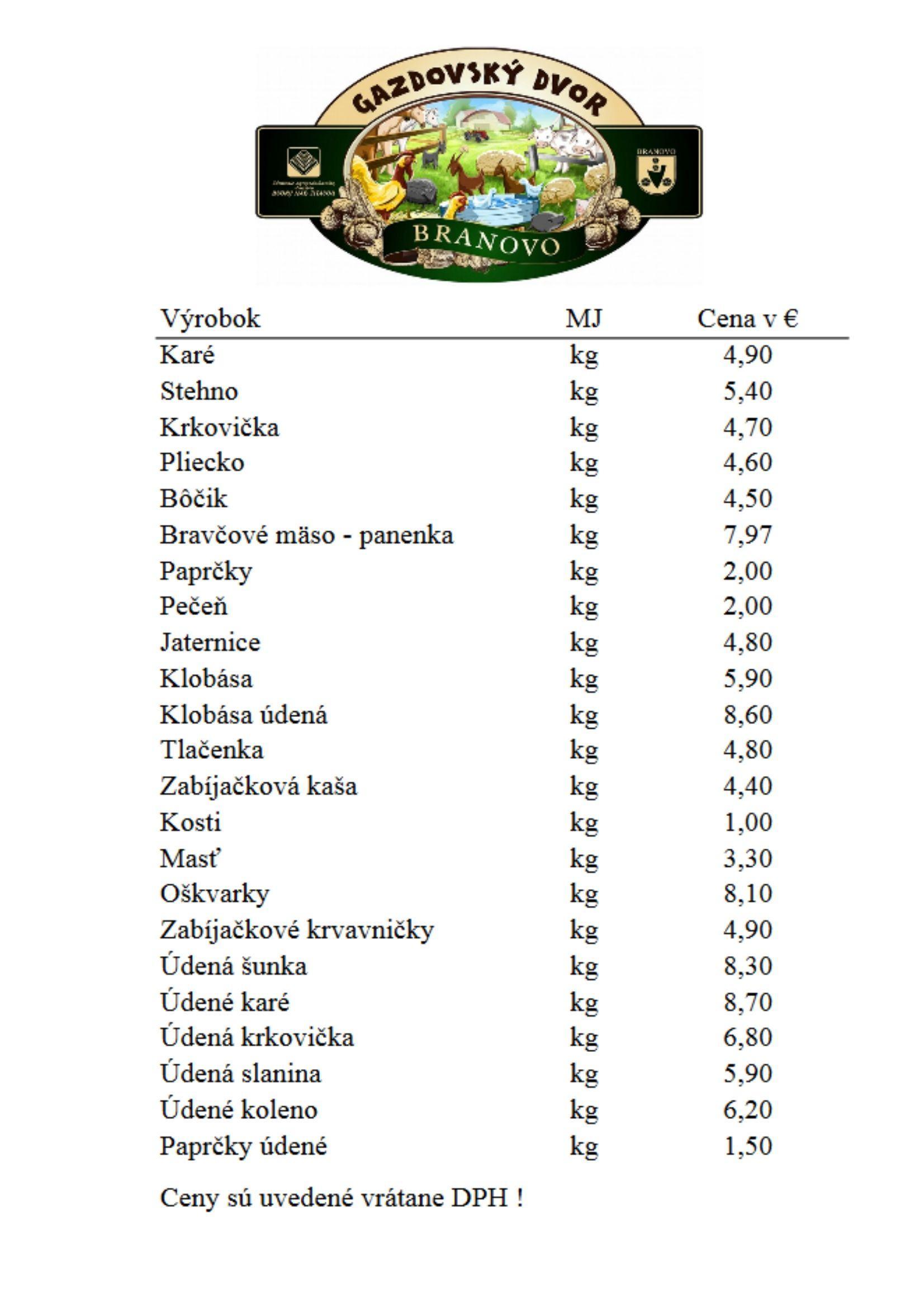 Cenník Gazdovský dvor 2020 od 16.3.2020